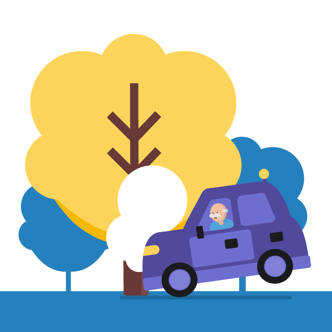 car crashing into a tree
