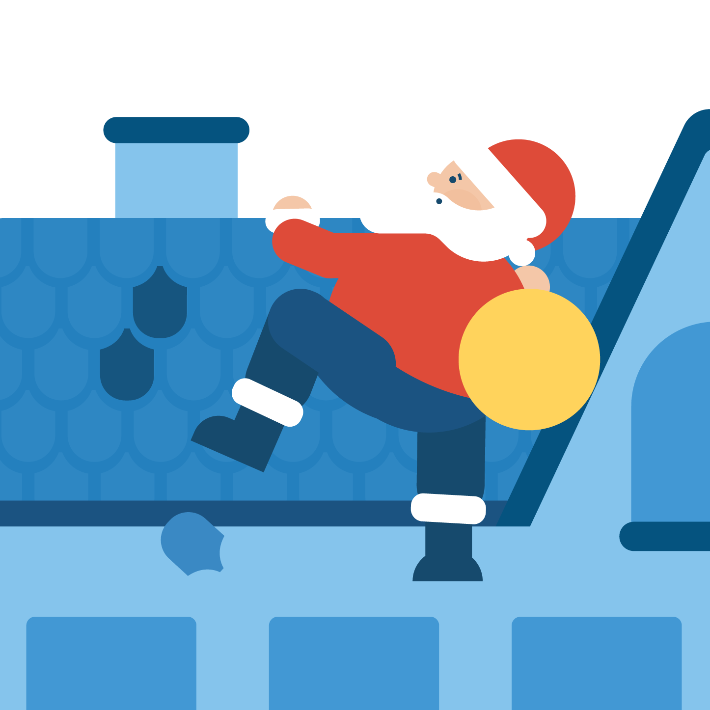 Santa climbing a roof