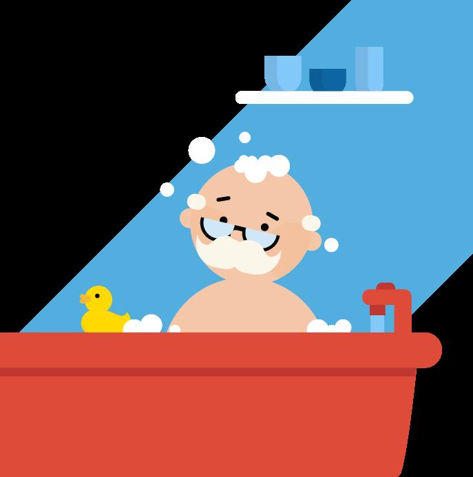 person taking a bubble bath