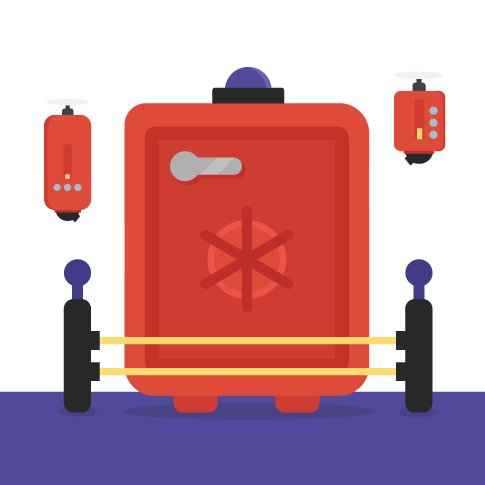 Large red safe door