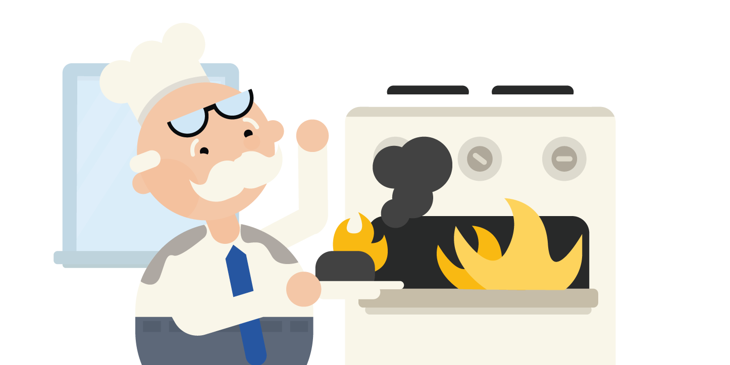 scientist holding burnt food with oven on fire
