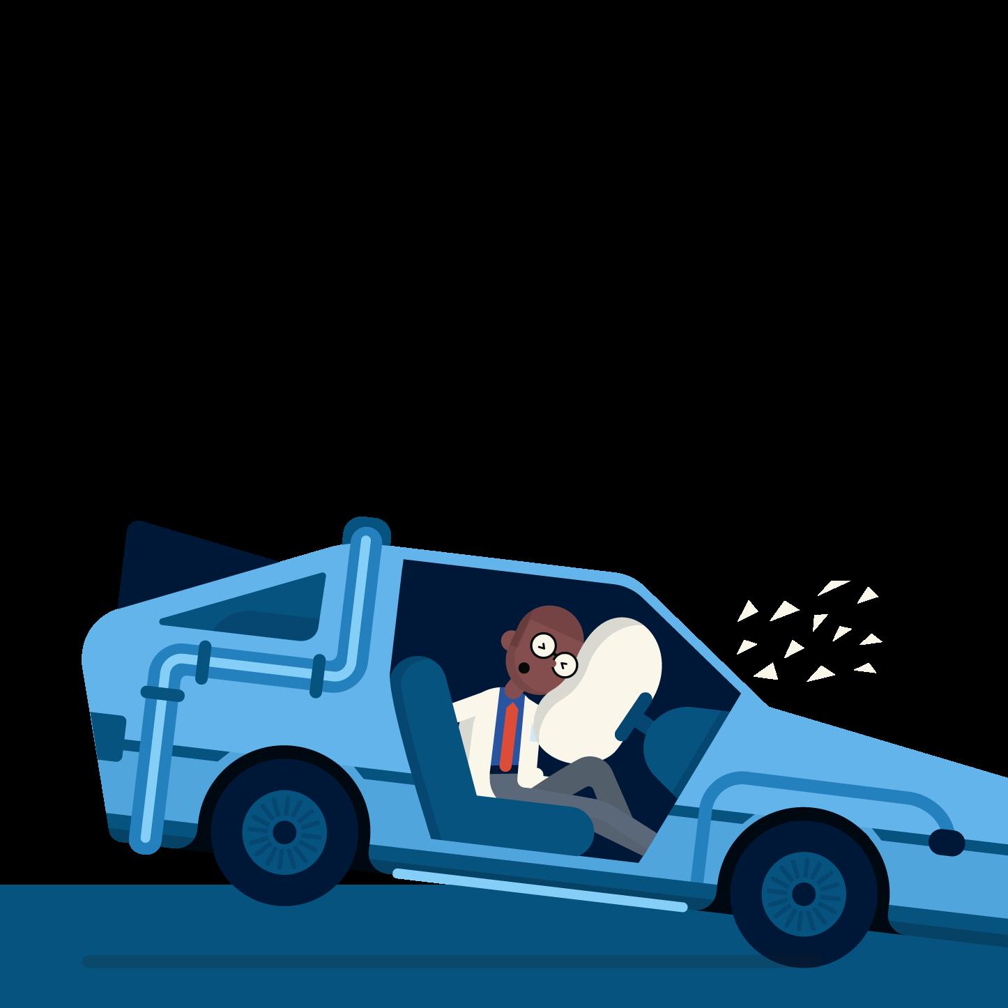 professor crashing an experimental car
