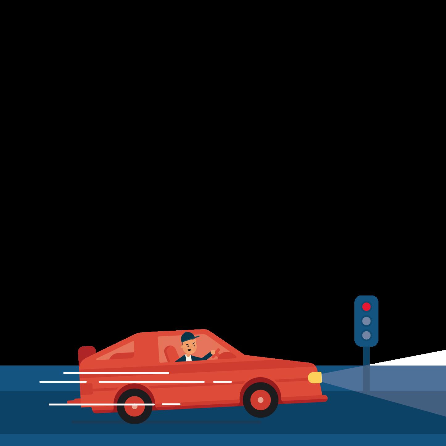 young driver speeding through a red light