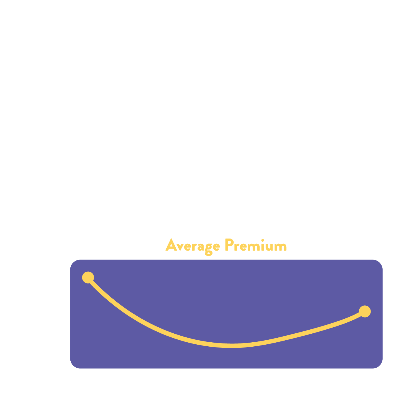 A line graph showing the average premium for car insurance as you age