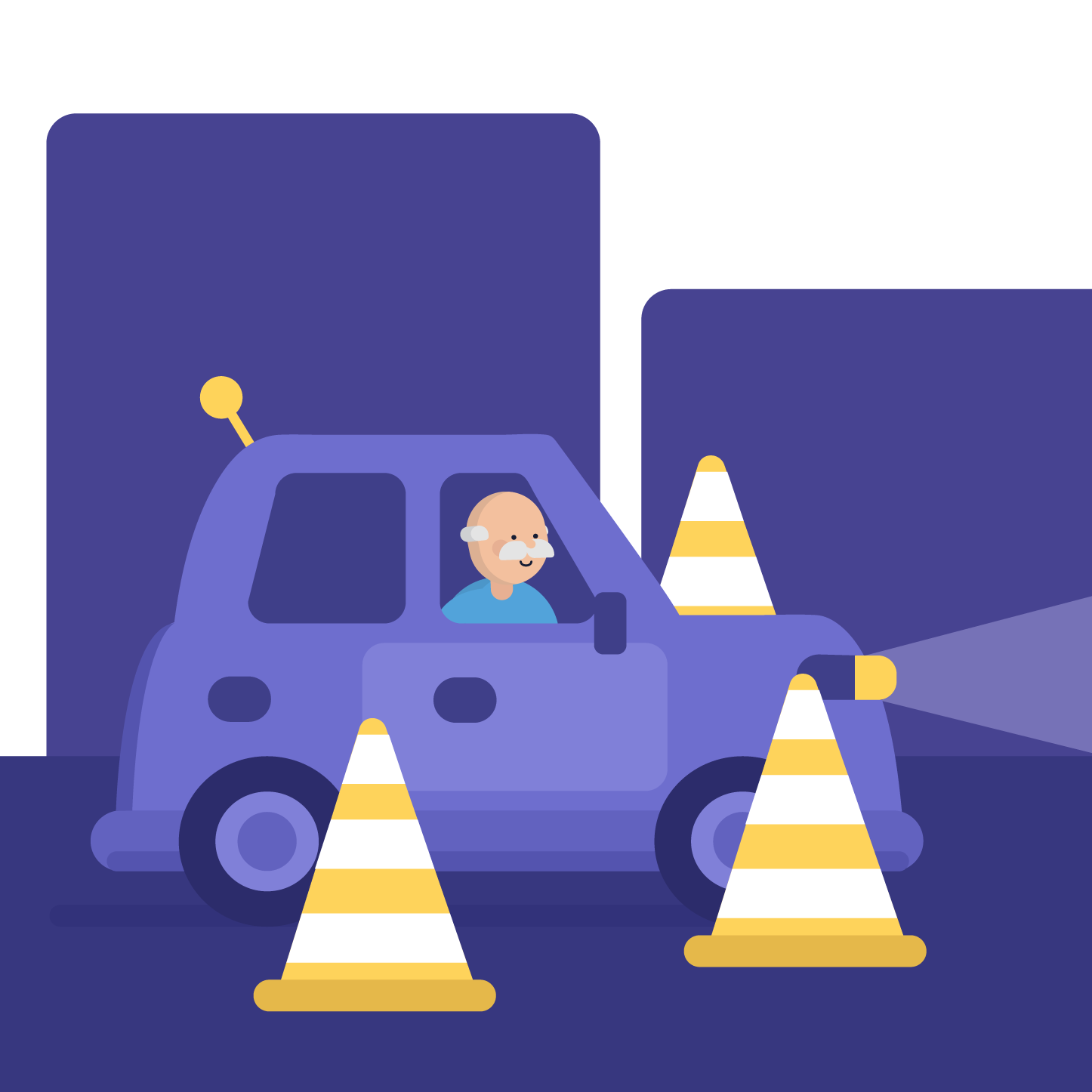 An old driver driving slowly between traffic cones