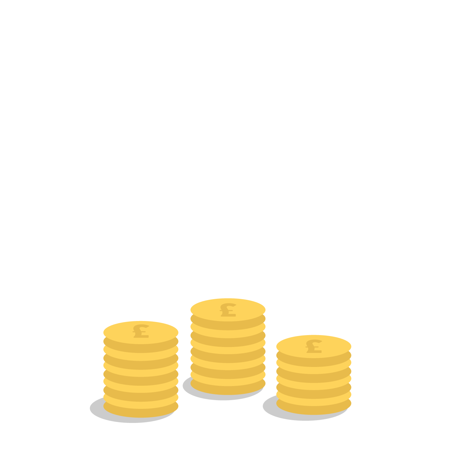 three stacks of pound coins