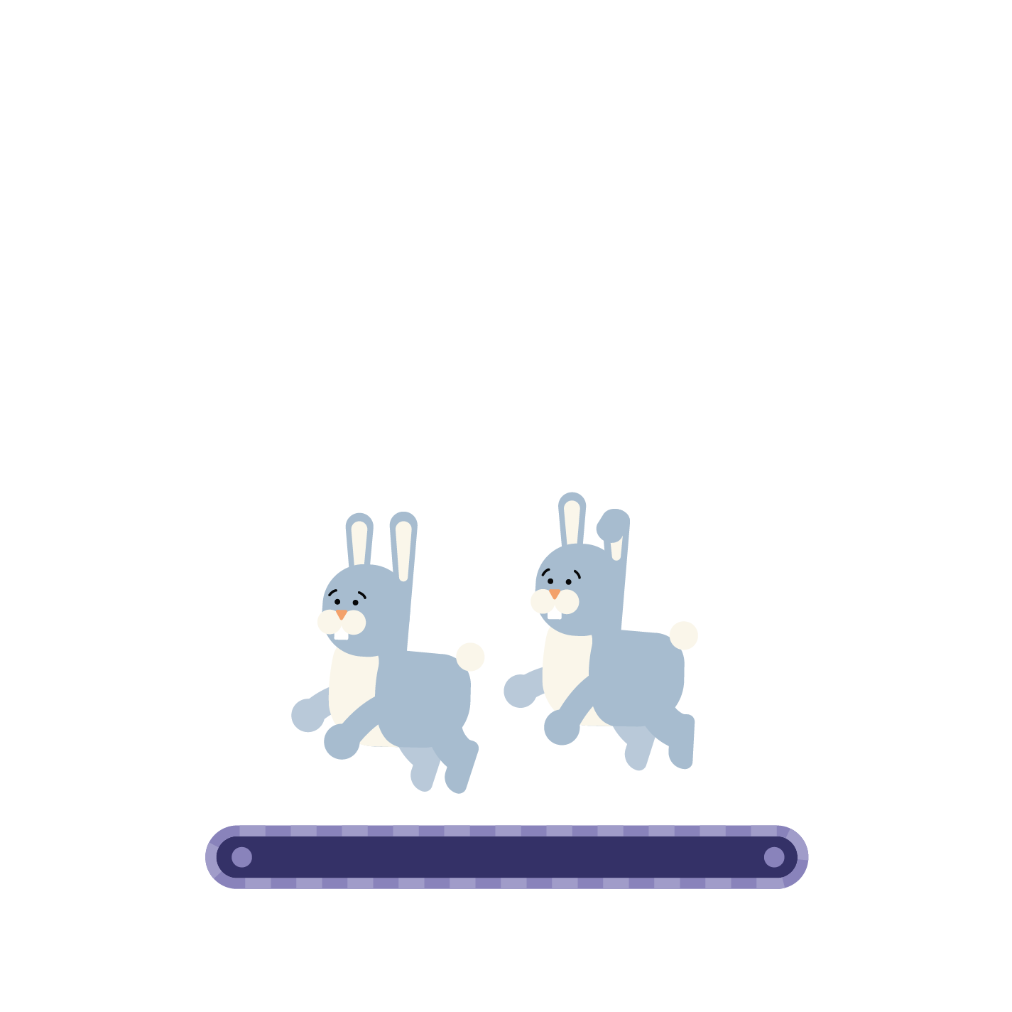 two bunnies hopping