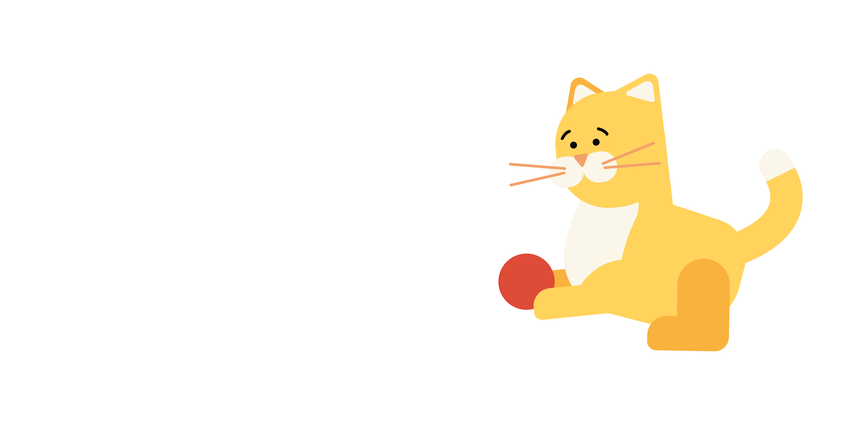 cat playing with red ball