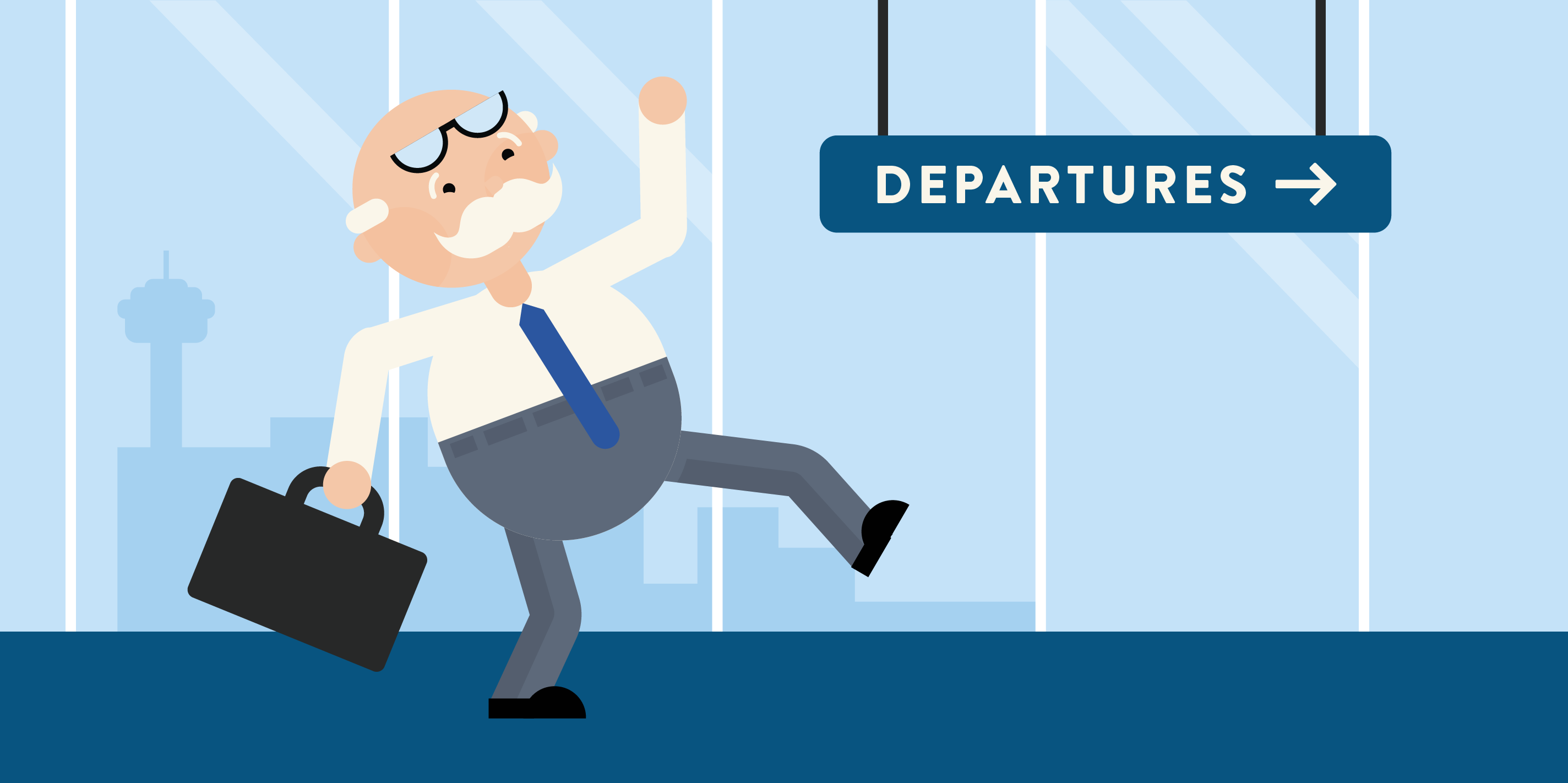 scientist running to departures gate at airport