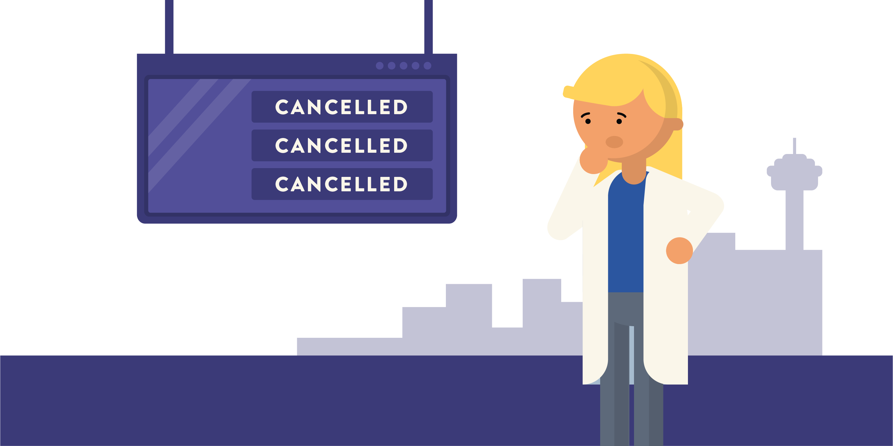 Scientist standing in front of cancelled sign