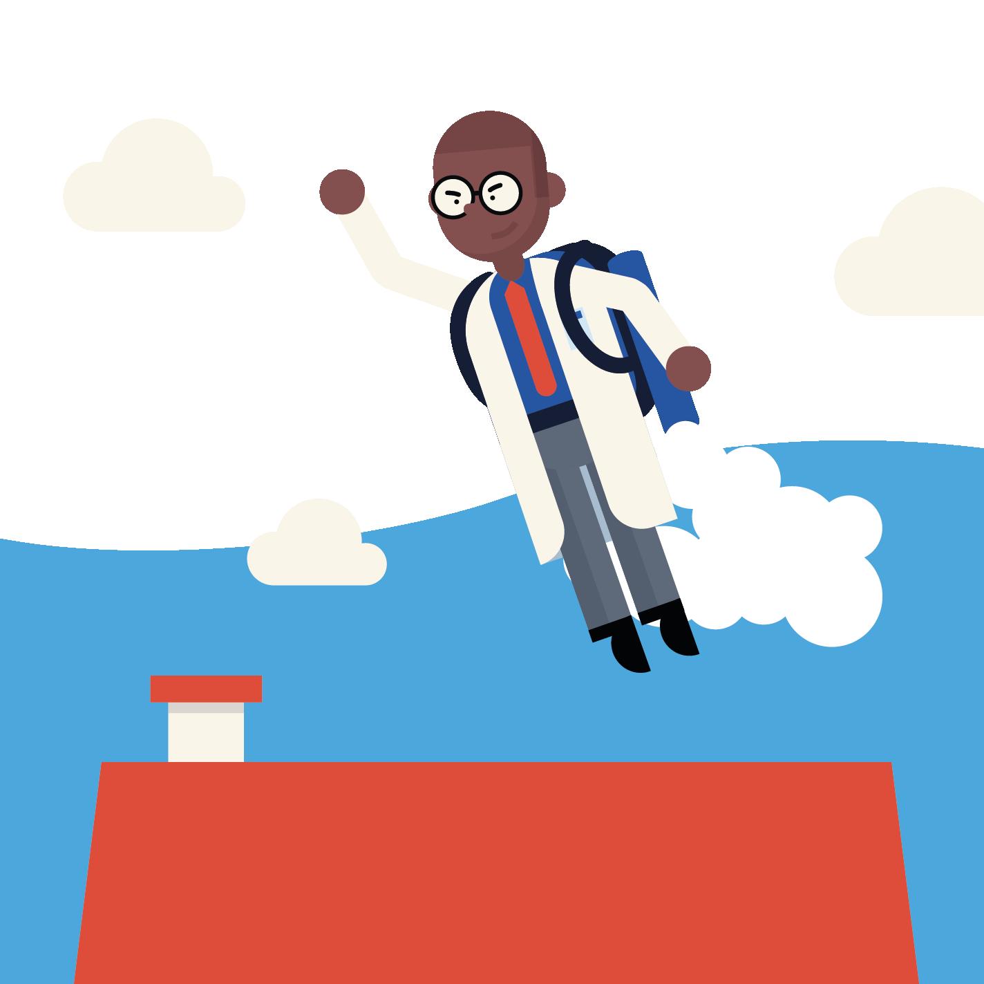 scientist flying away in a jetpack