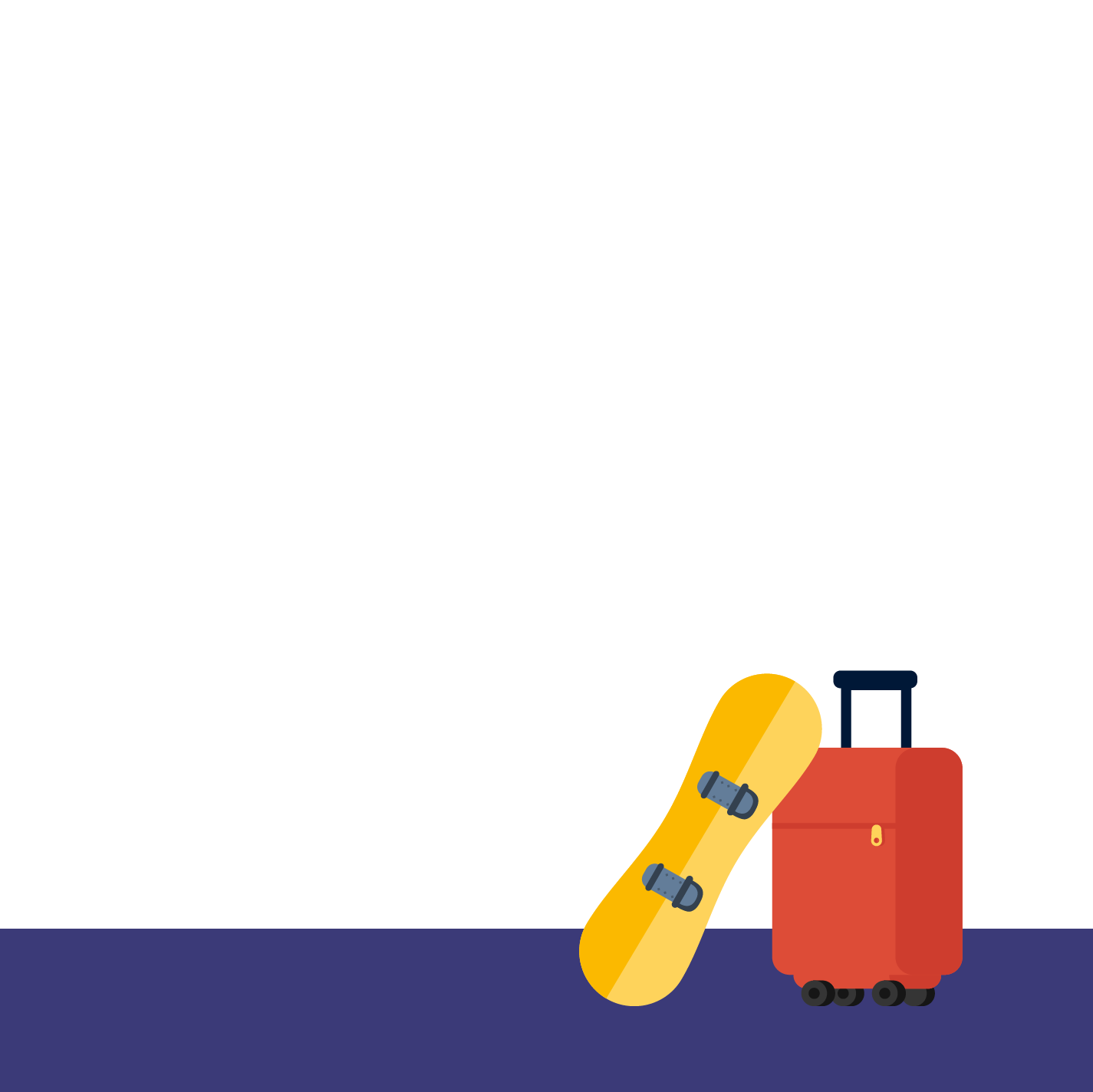 red suitcase and yellow snowboard as travel baggage