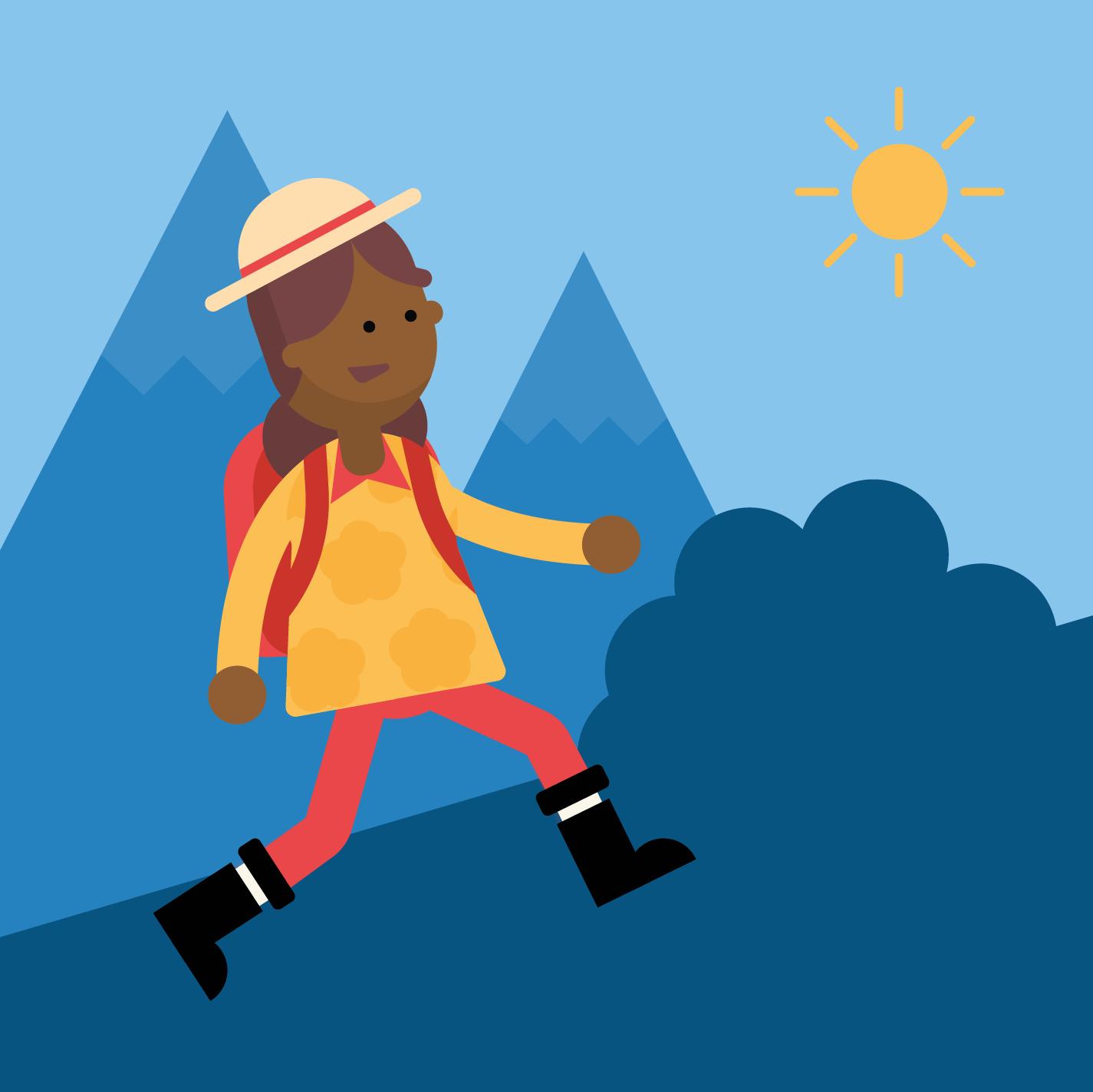 scientist hiking uphill