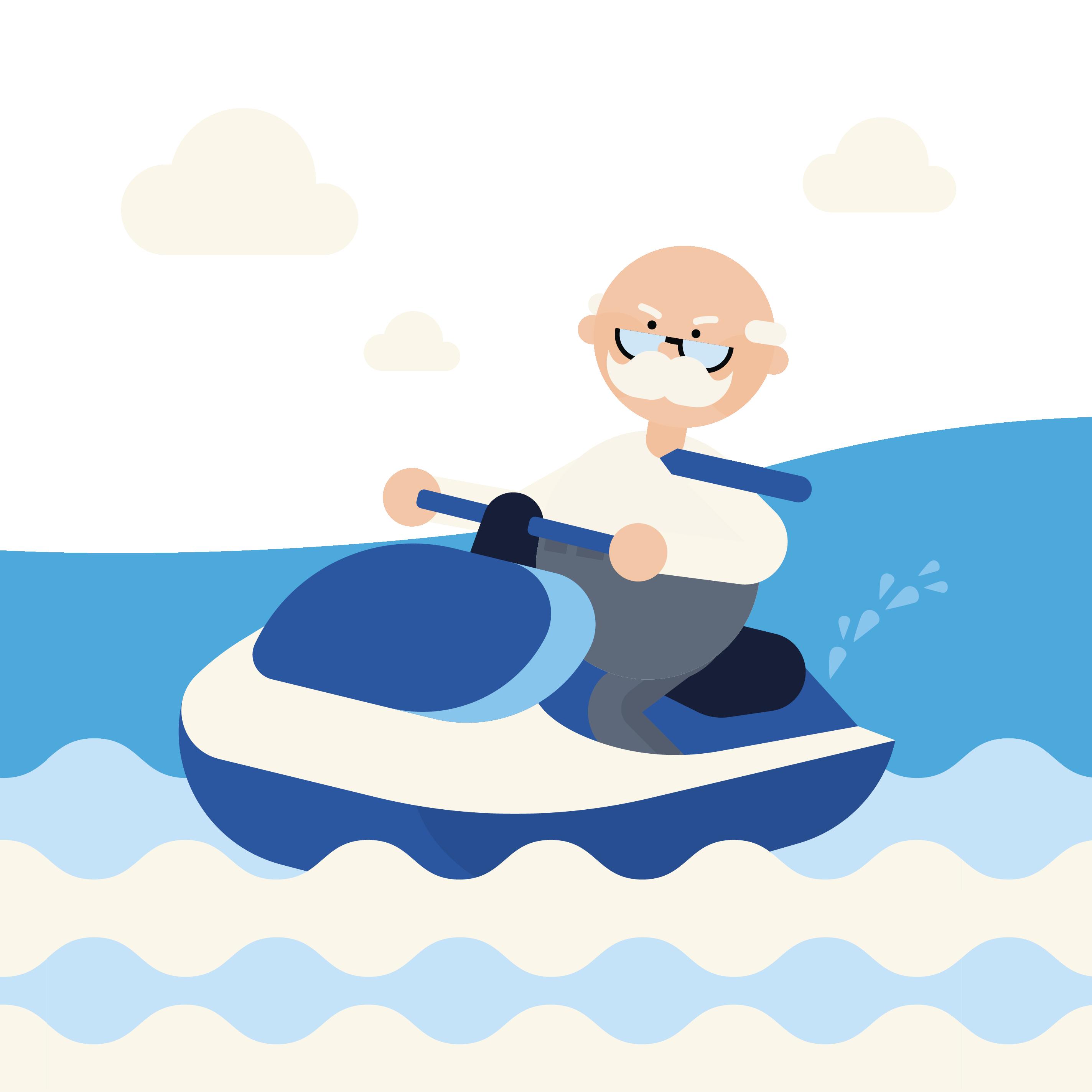 scientist riding on jet ski