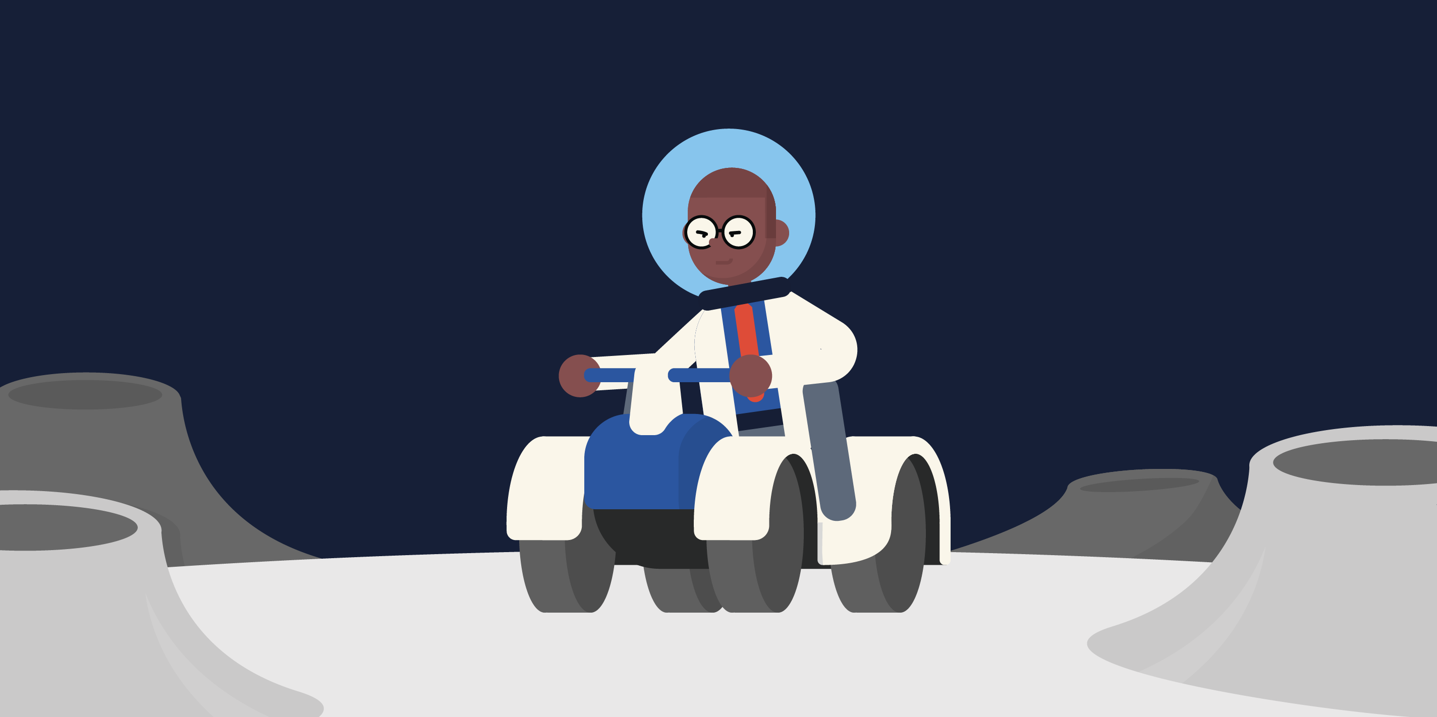 scientist on the moon in a quad bike