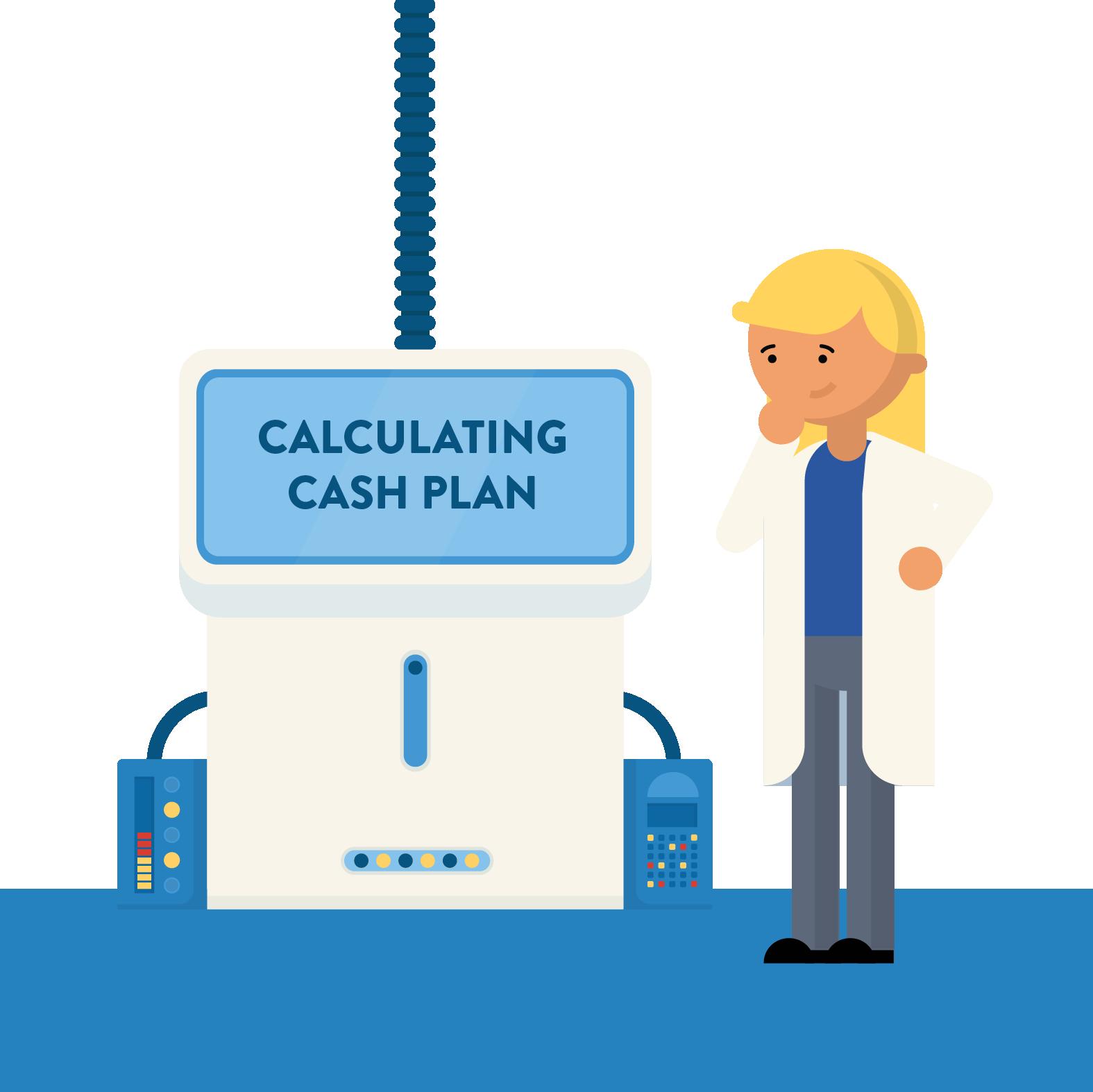 A professer using a machine to calculate a cash plan